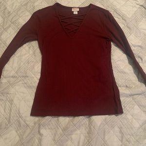 Long Sleeve Maroon Shirt